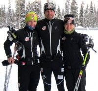 Day 1 of skiing in Muonio on great snow (l-r) Kikkan, Andy, Liz. [P] courtesy of Liz Stephen