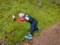 We ran to Banff from the nordic centre and Chandra found a nice soft place to take a nap! [P] Perianne Jones