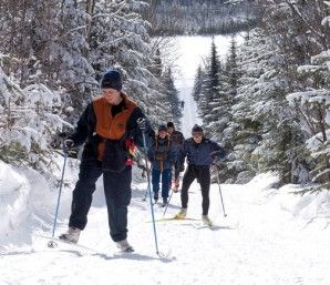 Camp Mercier is a pure xc ski-and-snowshoe resort with fabulous terrain surrounded by a coniferous forest. [P] Camp Mercier