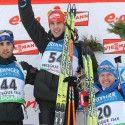 Men's podium (l-r): Martin Fourcade (FRA), Arnd Peiffer (GER), Ivan Tcherezov (RUS) [P] Nordic Focus