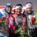 Final WCup Sprint podium (l-r) Follis 2nd, Majdic 1st, Randall 3rd. [P] Nordic Focus