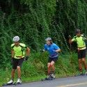 Here's one of us skate rollerskiing now... Great, great roads, for sure we're getting some funny looks, but it's all good. [P] courtesy of Devon Kershaw