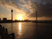 Sunset on the Rhine river in Dusseldorf