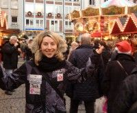 Chandra enjoying the Christmas market in downtown Dusseldorf.