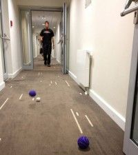 Len showing off his skills on the World Cup of Hotel Hallway Bocce Ball!