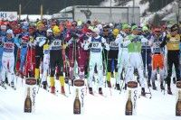 Racers at the start of the 70km Marcialonga [P] Worldloppet