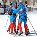 Team Russia celebrates at the finish. [P] Nordic Focus