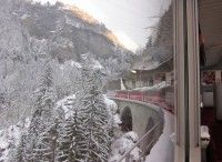 View out the train window headed towards St. Moritz from Zurich [P] Holly Brooks
