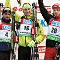 Men's fnial podium: (l-r) Fourcade 2nd, Fak 1st, Soukup 3rd [P] NordicFocus