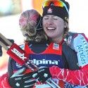 Kikkan Randall (USA) and Chandra Crawford (CAN) embrace after the FIS World Cup Sprint in Rogla. [P] Nordic Focus