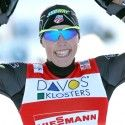 Kikkan Randall (USA) celebrates bronze in Davos. [P] Nordic Focus