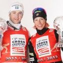 Men's sprint championion Teodor Peterson (SWE) with Women's champion Kikkan Randall (USA) [P] Nordic Focus