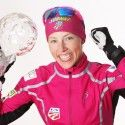 Kikkan Randall (USA) with her FIS World Cup Sprint crystal globe. [P] Nordic Focus