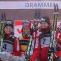 Final podium (l-r) Jacobsen 2nd, Bjoergen 1st, Kowalczyk 3rd. [P] Nordic Focus