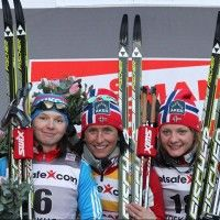 (l-r) Ivanova 2nd, Bjoergen 1st and Falla 3rd [P] Nordic Focus