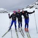 Holly Brooks (centre) and friends (far left, Kikkan Randall) 3.5h crust ski - May 1st. [P] courtesy of Holly Brooks