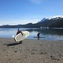 Holly Brooks didn't go paddle boarding in Hawaii, but she did in Alaska! [P] courtesy of Holly Brooks