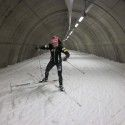 Holly Brooks' first time tunnel skiing in Torsby. [P] courtesy of Holly Brooks