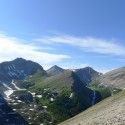 High above Ribbon Lake - looking down from the top of Guinn's Pass. The run? #decent [P] courtesy of Devon Kershaw