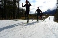 Brent and Phil training away on Frozen Thunder. 1.8km of skiing in mid October. [P] Devon Kershaw