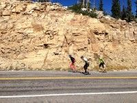 Rollerskiing at 3280m? Check. A few of us at the pass on the Mirror Lakes Highway. [P] The Nish