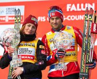 Overall winners from last year, l-r: Justyna Kowalczyk (POL) and Petter Northug (NOR)