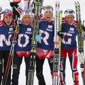 Norwegian squad (l-r) Heidi Weng, Therese Johaug, Kristin Steira and Marit Bjoergen [P] Nordic Focus
