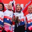 Final podium (l-r) Bjoergen, Steira, Weng and Johaug  win gold in 4x5km women [P] Nordic Focus