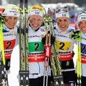 Swedish team (l-r) Ingemarsdotter,  Wiken, Haag and Kalla take silver [P] Nordic Focus
