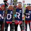 Norwegian team (l-r)  Weng, Johaug, Steira and Bjoergen celebrate win [P] Nordic Focus