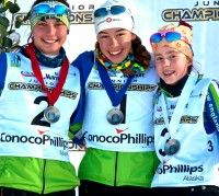 J2 Girls final podium (l-r) Julia Kern 2nd, Katharine Ogden 1st, Leah Brams 3rd. [P] Bert Boyer