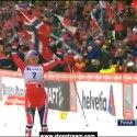 Therese Johaug (NOR) celebrates her win at finish line [P] Nordic Focus