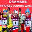 Men's podium (l-r) Poltoranin 2nd, Northug 1st, Kriukov 3rd [P] Nordic Focus