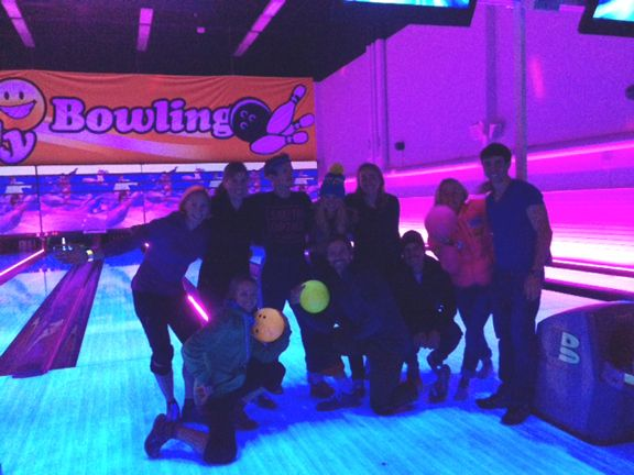 Capped off the evening with some neon bowling © courtesy of Kikkan Randall