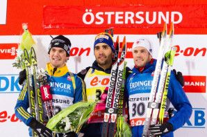 Men's Sprint final podium (l-r) Lindstroem 2nd, Fourcade 1st, Burke  3rd. [P] US Biathlon/NordicFocus