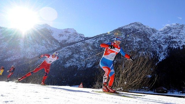 Petter Northug jr chasing Maxim Vylegzanin at the FIS Tour de Ski 2013 [P] Agence Zoom / FIS