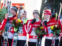 Team Canada hams it (l-r) Rosanna Crawford (CAN), Megan Imrie (CAN), Megan Heinicke (CAN), Zina Kocher (CAN) [P] Nordic Focus