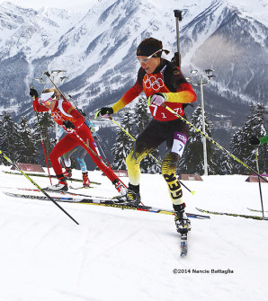 Germany's Evi Sachenbacher-Stehle (#7) in the Mixed Relay. [P]  Nancie Battaglia