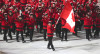 Hayley Wickenheiser, Canada's Flag bearer proudly leads Team Canada into Fisht Stadium in Sochi [P] Mike Ridewood/COC