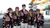 (l-r) Kikkan Randall, Sadie Bjornsen, Erik Bjornsen, Holly Brooks and Joey Caterinichio all decked out in their Opening Ceremony gear [P] courtesy of APU
