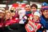 Kikkan Randall (USA) with teammates celebrate her 3rd Sprint Cup globe [P] Nordic Focus