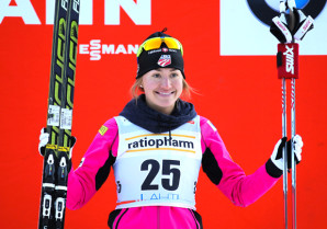 Sophie Caldwell on the podium in Lahti, Finland [P] Nordic Focus
