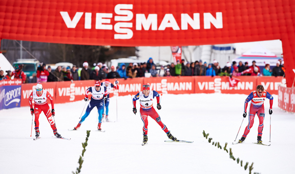 (l-r) Pellegrino, Sundby, Northug in the final charge to the line. [P] Nordic Focus