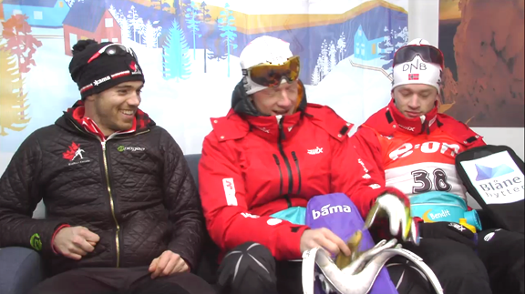 Canada's Smith and Boe Bros standing by for the medal ceremony for the Men's Sprint 10K @IBU Worlds  [P]