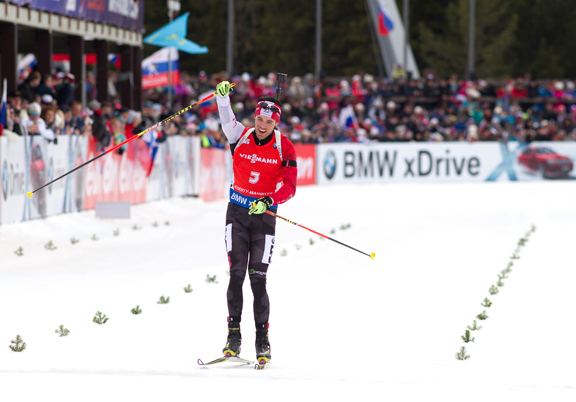 Nathan Smith (CAN) at the finish of his first IBU World Cup victory in the Men's 12.5km Pursuit at the final round in Khanty-Mansiysk [P] Nordic Focus