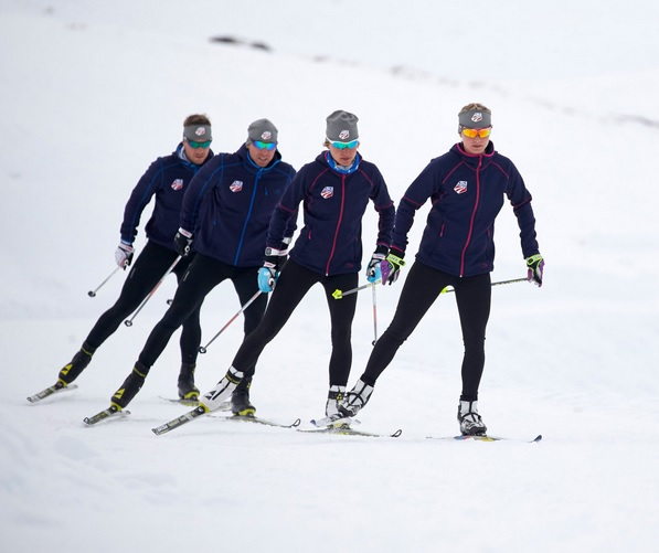 The U.S. Cross Country Ski Team skis in New Zealand wearing L.L.Bean outerwear in the national commercial. [P] L.L.Bean