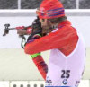 Lowell Bailey shoots in the heavy snow during the Men's 20km Individual [P] U.S. Biathlon/Nordic Focus
