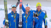 Reese Hanneman (left), Eric Packer, Tyler Kornfield stand on the podium following the classic sprint at the U.S. Cross Country Ski Championships presented by L.L. Bean [P] CXC/Mary Kozloski