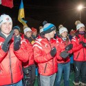 Canadian team at the Canmore Biathlon opening ceremonies [P] Pam Doyle