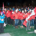 Team Canada arrives at the Canmore Biathlon opening ceremonies [P] Pam Doyle